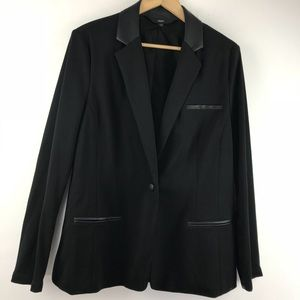 Black Faux Leather Collar Ponte Blazer